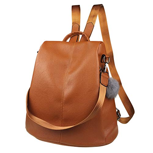 Women Backpack Purse Waterproof Leather Anti-theft Fashion Casual Lightweight Travel Shoulder Bag (Maple Brown, Style One)