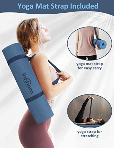 Yoga Mat innhom Non Slip Yoga Mats for Women Men Thick Exercise Mat for Yoga Pilates Workout Mat for Yoga Home Gym Fitness Mat with Carrying Strap, 5/16 inch (8mm)