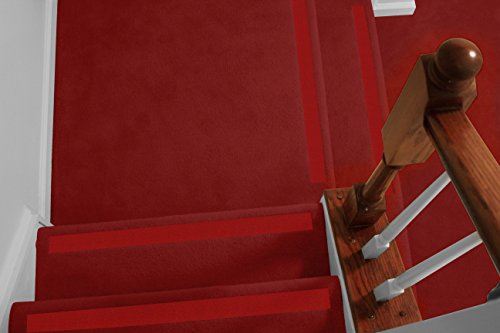 No-slip Strips - Non-Slip Nosing for Increased Safety On Carpeted Stairs, Red-Sahara Color, AGGRESSIVE Grit Traction for Indoor Carpeted Stairs, 31x2 Inches, 5 Strips