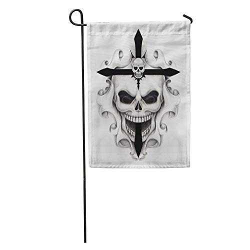 Semtomn Garden Flag Drawing Skull Cross Tattoo on