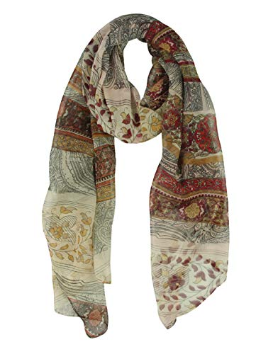 Long Chiffon Sheer Scarf Paisley - Pantonight Pattern Printed Colors Lightweight Scarf For Womens (Brown 722)