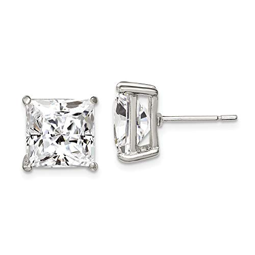 925 Sterling Silver 10mm Square Cubic Zirconia Cz Basket Set Stud Earrings Radiant Fine Jewelry Gifts For Women For Her]()