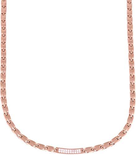Elegant Titanium Magnetic Therapy Necklace Pain Relief for Neck Arthritis Migraine Headaches Shoulders and Back (Czech Stone Rose Gold)
