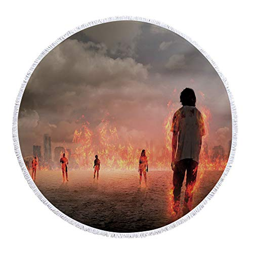 iPrint Thick Round Beach Towel Blanket,Zombie Decor,Group of People in Flame in the Water under Storm Clouds Image,Pearl Egg Shell Vermilion,Multi-Purpose Beach Throw