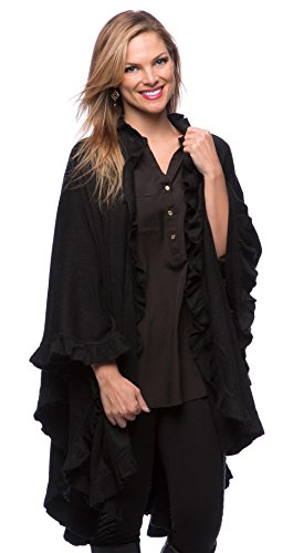 Trim Woman Ruffle (StylesILove Ruffle Trim Knit Poncho-like Shawl Wrap - Black)