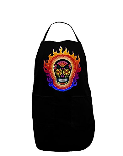 Sacred Calavera Day of the Dead Sugar Skull Dark Adult Apron - Black - (Adult Halloween Sayings)