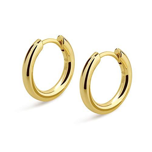 (KRKC&CO Hoop Earrings, S925 Sterling Silver Gold Plated White Gold Plated Round Hoop Earrings for Men & Women 12-15 mm (14k Gold, 12))