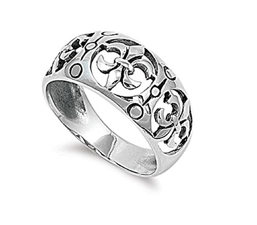 925 Sterling Silver Eternity Fleur De Lis Design Ring Size 9