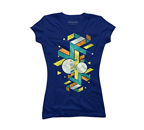 geometric upgrade Juniors' X-Large Royal Blue Graphic T Shirt