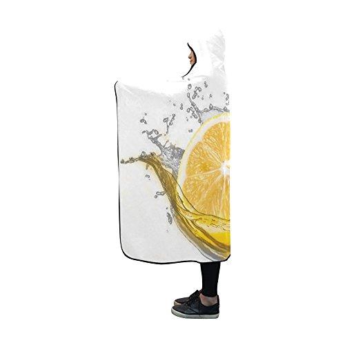 Food Blanket Wrap - WUTMVING Lime Lemon Water White Food Green Hooded Blanket Wearable Blanket 60x50 Inch Comfotable Hooded Throw Wrap
