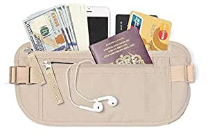 Travel Money Belt, Waist Wallet, Passport Holder for Men and Women, Stylish Fits Passport, Wallet, Phone and Personal Items, Running Belt and Waist Pack, Yellow by Cloudin