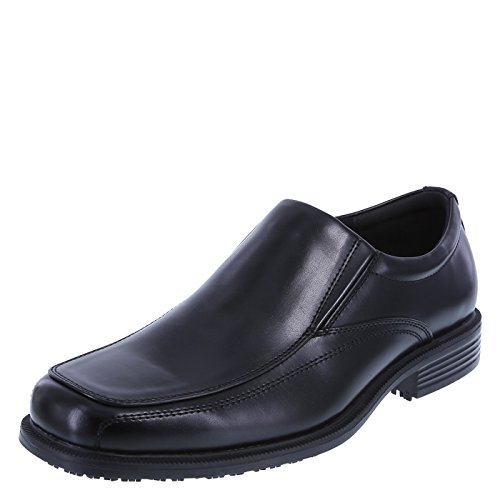 safeTstep Black Men's Slip Resistant Monroe Slip-On 8.5 Regular - Men Dress Shoes Slip