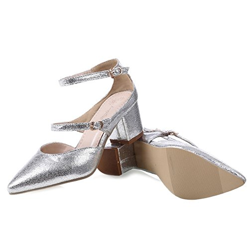 SJJH Sandals with Closed Toe and Large Size Women Sandal Shoes Chunky Heel Women Sandals OL Women Shoes Silver RIhUtrNI