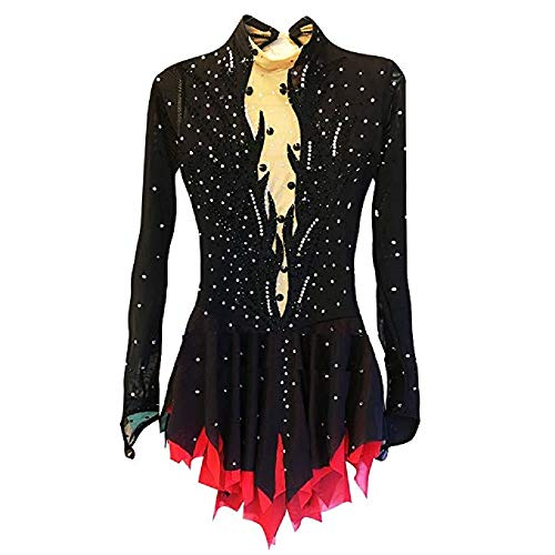 BINGHUOZHIWU Ice Skating Dress Women's Long Sleeves Skating Skirts & Dresses Dresses Figure Skating Dress Spandex Skating Wear(M) Black (Best Figure Skating Dresses)