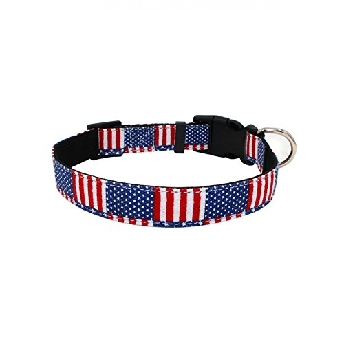Stock Show American Flag Dog Cat Collar Safety Break Away Collar with Metal D Ring for Small Medium Large Dogs Cats, - Dog Show Blue Collar