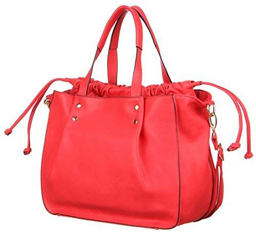 Borsa donna borsa simil pelle borsa manici similpelle borsa tracolla borsa ecopelle, cm 32 x cm 27-rosso-ONE SIZE
