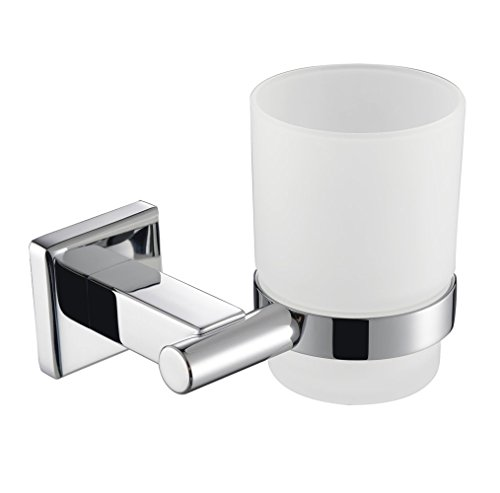 KES Bathroom Single Glass Tumbler with SUS304 Stainless Steel Holder Wall Mount Polished, A2250