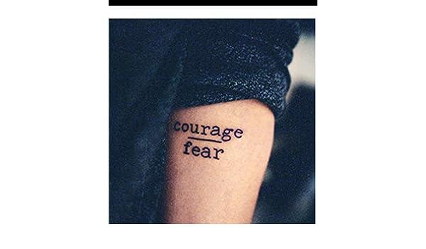 LFVGUIOP Impermeables Pegatinas de Tatuaje Temporal Coraje Miedo ...