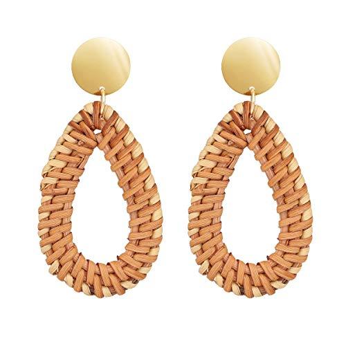 - Airrioal Rattan Earrings for Women Handmade Straw Dangle Earrings Boho Wicker Woven Lightweight Geometric Drop Stud Earrings