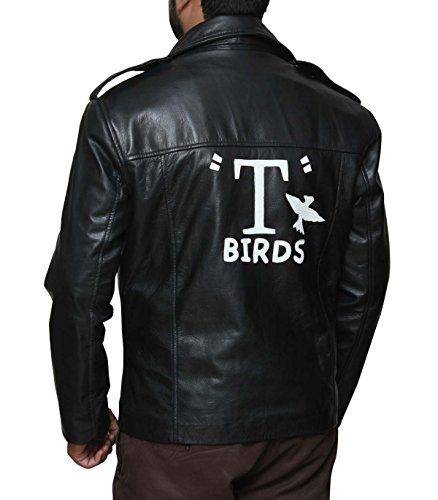 Decrum John Trovolta T Birds Leather Jacket For Men M (Mens T Bird Jacket)