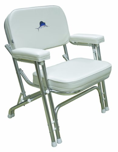 Wise 8WD119-710 Marlin Logo Folding Deck Chair with Aluminum Frame, White