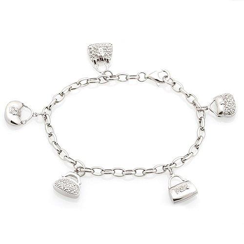 Sterling Silver Diamond Handba