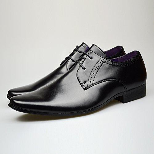 Formali 2 8 7 11 UK taglia Pelle Alla Da 10 Uomo 6 Abito In Moda Black Nuovo Elegante Scarpe Nera 9 Sn8qwCAR