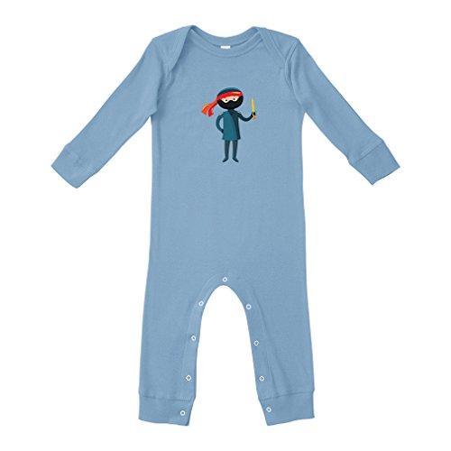 Costume Ninja Cotton Long Sleeve Envelope Neck Unisex Baby Legged Long Rib Coverall Bodysuit - Light Blue, 24 Months -