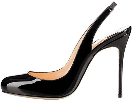 Calaier Mujer Caweather Tacón De Aguja 10CM Sintético Hebilla Sandalias de vestir Zapatos Negro