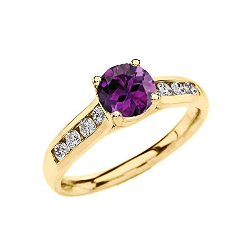 - Elegant 10k Yellow Gold CZ Channel-Set Personalized Solitaire Genuine Amethyst Engagement Proposal Ring (Size 8.5)
