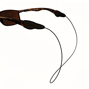 Fly Ties - Fly Fishing Line Sunglass Retainer/Strap - Light Weight, Waterproof, Multiply Color and Size Options (Small, Black)