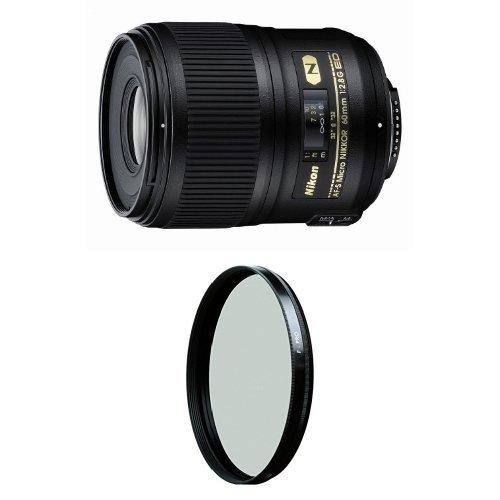 Nikon 60mm f/2.8G ED Auto Focus-S Micro-Nikkor Lens for Nikon DSLR Cameras w/ B+W 62mm HTC Kaesemann Circular Polarizer by Nikon