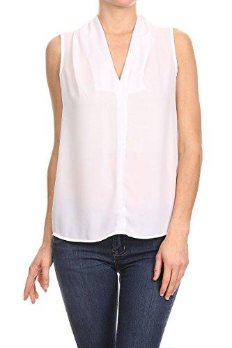(ReneeC. Women's V-Neck Sleeveless Sleeveless - Solid Draped Fashion Tops- Teal Off White-M)