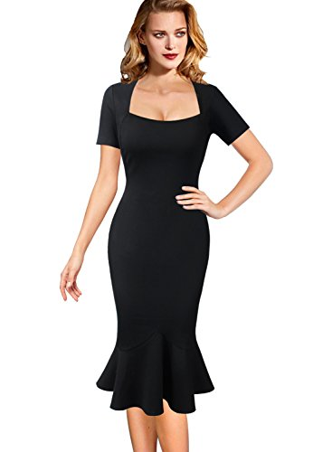 VfEmage Womens Elegant Vintage Cocktail Party Mermaid Midi Mid-Calf Dress 9459 BLK 18