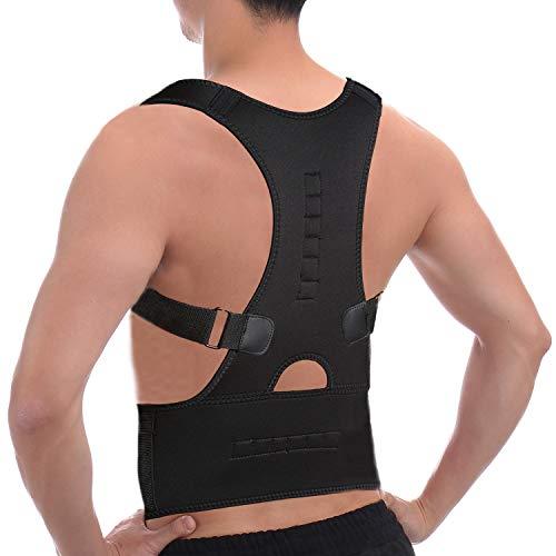 CFR Magnetic Posture Corrector Back Braces Shoulder Waist Lumbar Support Belt Humpback Prevent Body Straighten Slouch Compression Pain Relief - Black,M UPS Post ()