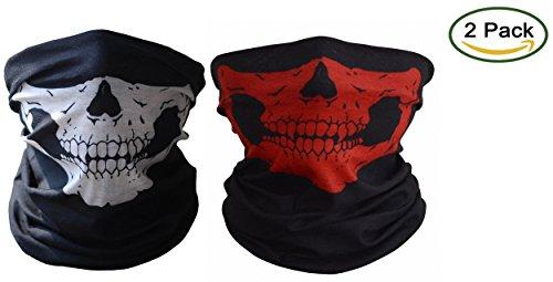 [ToBe-U Seamless Multi Function Half Face Skull Tube Mask for Halloween?White and Red 2Pcs] (Halloween Skeleton Mask)