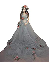 Hopeverl Maternity Transparent High Waist Dress Sleeveless Gown Yarn Skirt for Photos Shoot