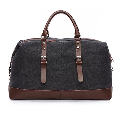 WOMJIA Reisetsache Sporttasche Weekender Tasche Handgepäck aus Canvas Segeltuch Vintage 35 Liter schwarz