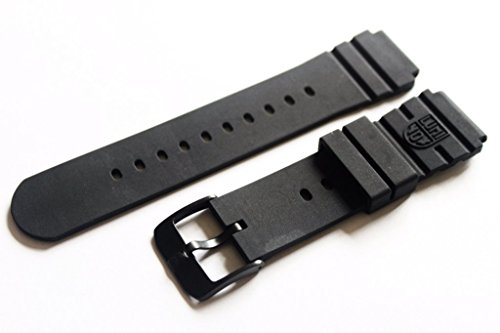 Seal Buckle (Luminox Rubber 3000 Series FP.L.DPB Black Out Navy Seal Watch Band With PVD Buckle)