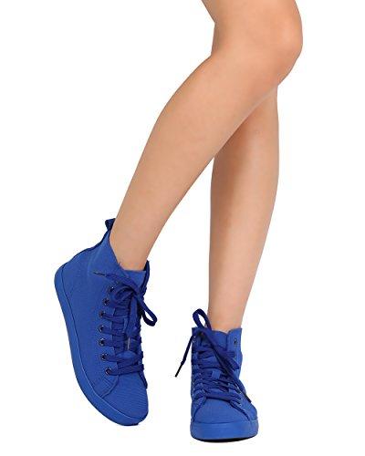 Qupid Ff62 Lona De Las Mujeres Punta Redonda Con Cordones Zapatillas Altas - Azul Cobalto