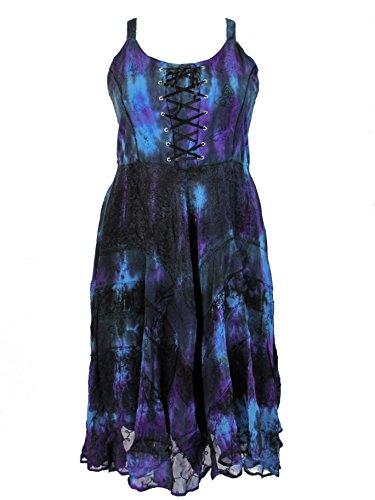 Darkstar Dye - Dark Star Plus Size Dark Turquoise Navy Tie Dye Gothic Gypsy Corset Long Gown (TAGGED XXLFITS2X)