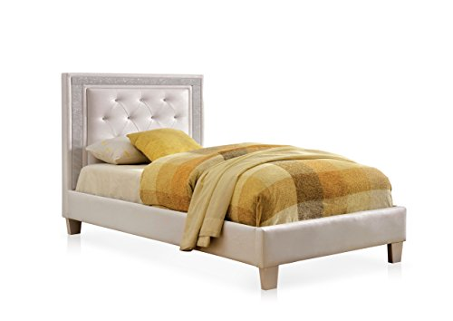 HOMES: Inside + Out IDF-7217WH-T ioHOMES Elmar Tufted Leatherette Youth Bed, Twin, White (Youth Twin Bed)