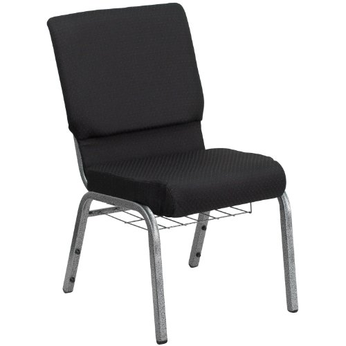 "18.5""W Church Chair in Black Patterned Fabric with Cup Book Rack – Silver Vein Frame"
