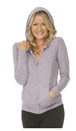 Womens Long Sleeve Zip Hoody with Pouch-coffee-small