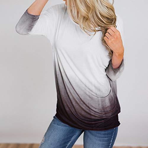 Chemise Caf Tee De Pull Col Blouse Manches DGrad Longue Over Hauts Yogogo Tops Couleur Longues Rond Femme T Shirt wvx6SaU