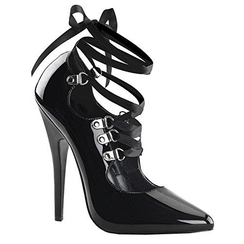 Pleaser Devious DOMINA-456 womens Black Patent Pumps Shoes