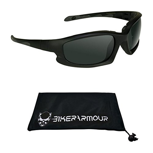 Motorcycle Sunglasses Foam Padded Biker Glasses Sports. Impact, Wind, Dust and Debris Resist by Bikershades