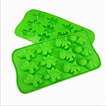 BST Cake Pan 12 Hole Dinosaur Shape Cake Ice Jelly Chocolate Molds,Silicone 21.5*10.8*2 CM(8.5*4.3*0.8 INCH)