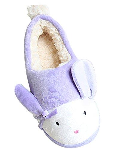 Cattior Mujeres Cute Warm Bunny Zapatillas Casa Zapatos Púrpura