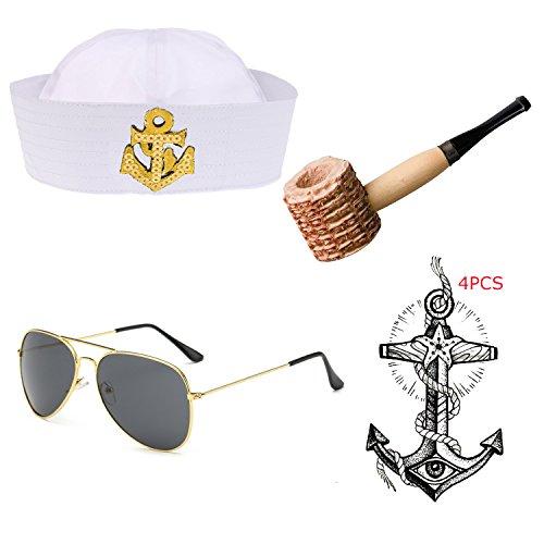 Yacht Captain & Sailor Costume Accessories Set - Hat,Corn Cob Pipe,Aviator Sunglasses,Vintage Anchor Temporary Tattoo (OneSize, (Popeye Corn Cob Pipe)